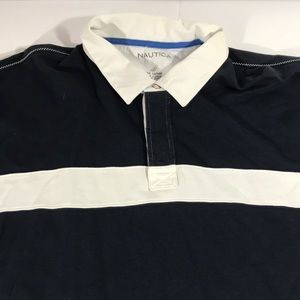 Nautica Men's 3XL Long Sleeve Polo Shirt Blue